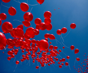 red, balloons, and sky image