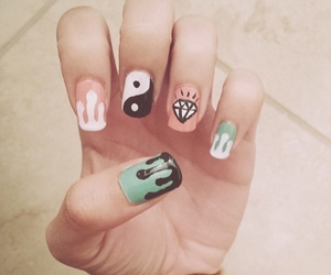 nails, diamond, and nail art image