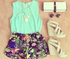 blue, flowers, and tank top image