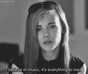 music, black and white, and believe image