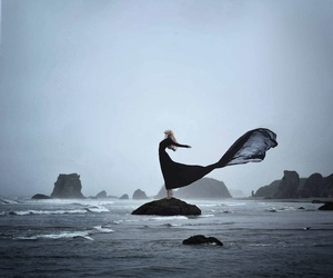black, sea, and dress image