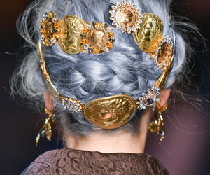 hair, gold, and model image