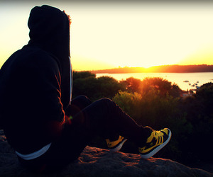 boy, sunset, and sun image