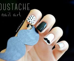 black and white, moustache, and nail art image