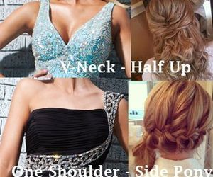dress, hair, and Prom image