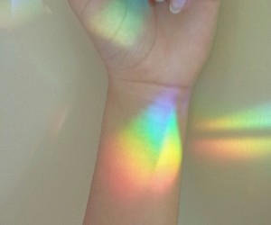 rainbow, hand, and light image
