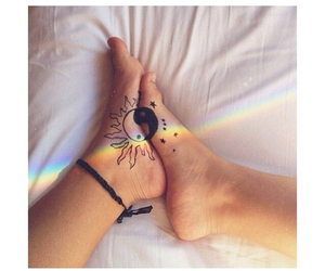 tattoo, feet, and rainbow image
