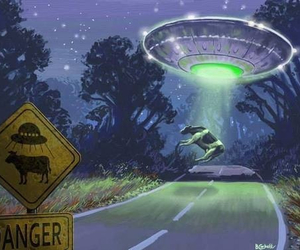 cow, alien, and ufo image