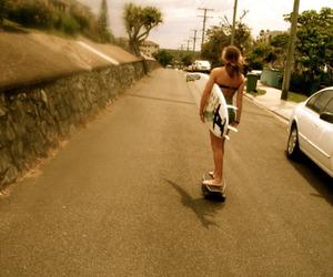 girl, skateboard, and surfboard image