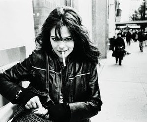 black and white, leather jacket, and brunette image