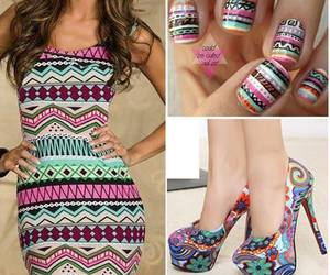 dress, nails, and shoes image