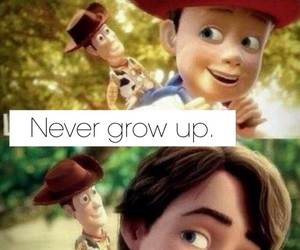 toy story, andy, and never grow up image