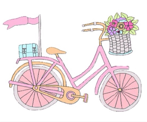 bicycle, flowers, and girly image