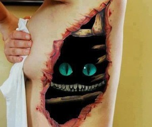 tattoo, cat, and alice in wonderland image