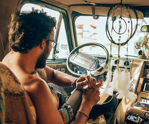 hippie, car, and man image