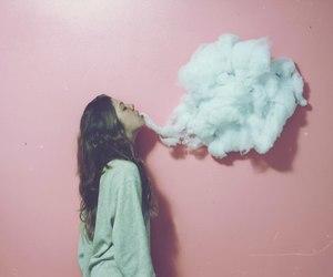 girl, smoke, and pink image