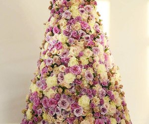 christmas tree, roses, and tree image
