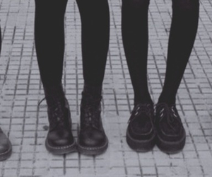 grunge, shoes, and black and white image