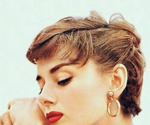 audrey hepburn, red lips, and vintage image
