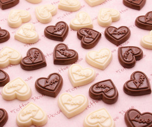chocolate, hearts, and pink image