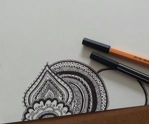 drawing, henna, and white image