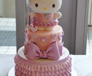 cake, pink, and hello kitty image