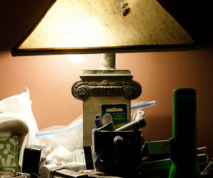 lamp, mess, and nightstand image