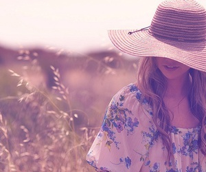blouse, field, and floppy hat image