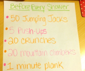 motivation, workout, and shower image