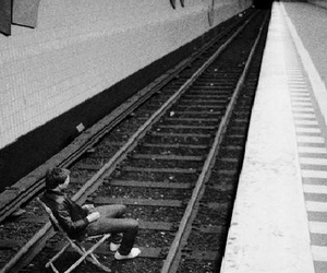 train, suicide, and black and white image