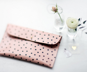 fashion, pink, and polka dots image