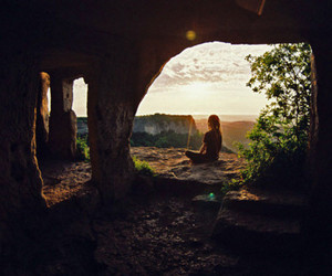 girl, meditation, and nature image