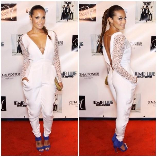 Pants Jumpsuit White Blue White Lace Skirt Lace Wheretoget
