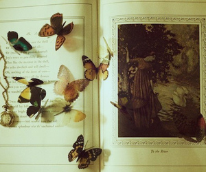 butterfly, book, and b&w image