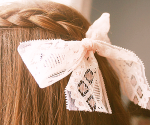 hair, bow, and braid image