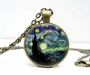 necklace, pendant, and starry night image