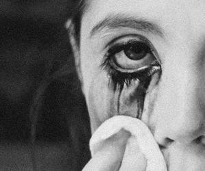 cry, sad, and black and white image