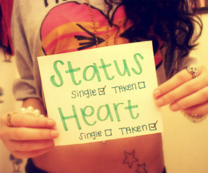 single, heart, and status image