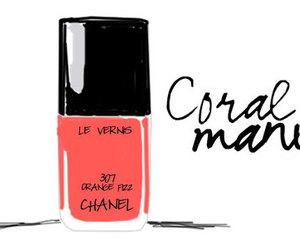 chanel, coral, and nail polish image