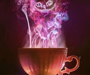cat, alice in wonderland, and tea image