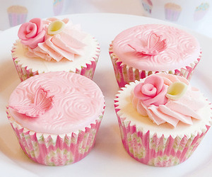 dessert, muffins, and pink image
