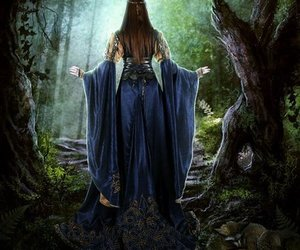 art, forest, and blue dress image