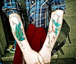 tattoo, bird, and boy image
