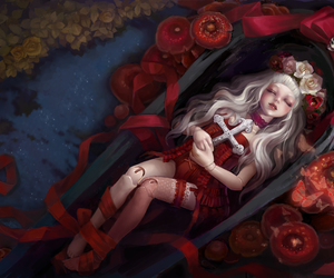 doll, art, and red image