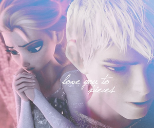 elsa, love, and jack frost image