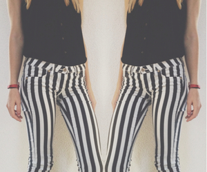 black and white, girl, and stripes image