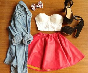 clothes, high heels, and outfit image