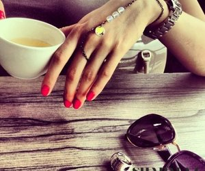 girl, manicure, and glasses image