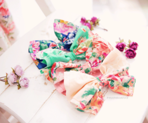 bow, flowers, and hair image