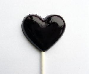 black, heart, and lollipop image